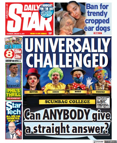 Daily Star Newspaper Front Page (UK) for 14 January 2021