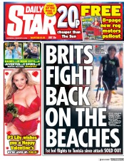 Daily Star (UK) Newspaper Front Page for 14 February 2018