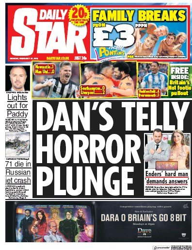 Daily Star Newspaper Front Page (UK) for 14 February 2018