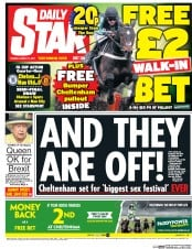 Daily Star (UK) Newspaper Front Page for 14 March 2017