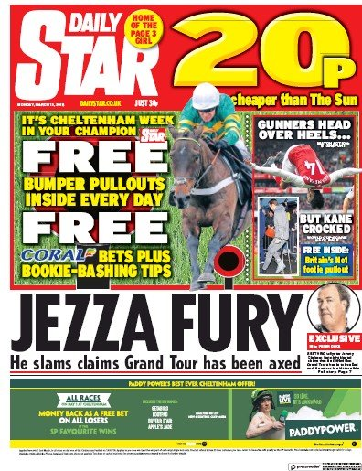Daily Star Newspaper Front Page (UK) for 14 March 2018