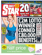 Daily Star (UK) Newspaper Front Page for 14 April 2017