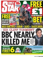 Daily Star (UK) Newspaper Front Page for 14 April 2018