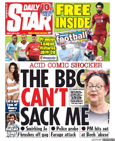 Daily Star Newspaper Front Page (UK) for 14 June 2019