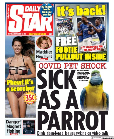 Daily Star Newspaper Front Page (UK) for 14 September 2020