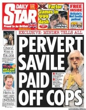 Daily Star Newspaper Front Page (UK) for 15 October 2012
