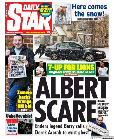 Daily Star Newspaper Front Page (UK) for 15 November 2019