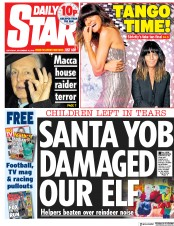 Daily Star () Newspaper Front Page for 15 December 2018