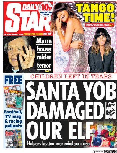 Daily Star Newspaper Front Page (UK) for 15 December 2018