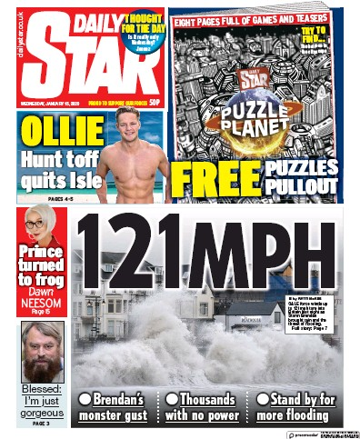 Daily Star Newspaper Front Page (UK) for 15 January 2020