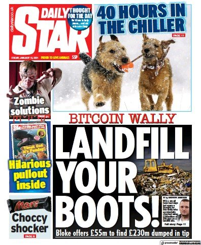 Daily Star Newspaper Front Page (UK) for 15 January 2021