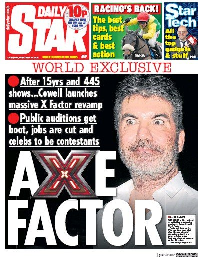 Daily Star Newspaper Front Page (UK) for 15 February 2019