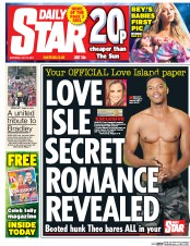Daily Star (UK) Newspaper Front Page for 15 July 2017