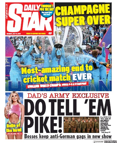 Daily Star Newspaper Front Page (UK) for 15 July 2019