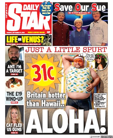 Daily Star Newspaper Front Page (UK) for 15 September 2020
