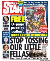 Daily Star () Newspaper Front Page for 16 October 2019