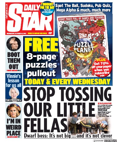Daily Star Newspaper Front Page (UK) for 16 October 2019
