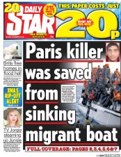 Daily Star (UK) Newspaper Front Page for 16 November 2015