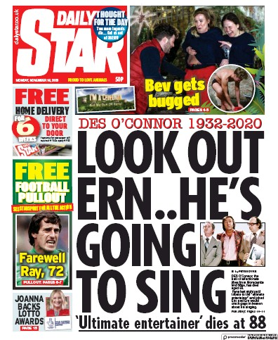 Daily Star Newspaper Front Page (UK) for 16 November 2020