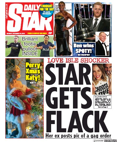 Daily Star Newspaper Front Page (UK) for 16 December 2019
