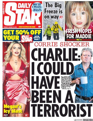 Daily Star Newspaper Front Page (UK) for 16 January 2019