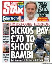 Daily Star (UK) Newspaper Front Page for 16 January 2020