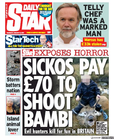 Daily Star Newspaper Front Page (UK) for 16 January 2020