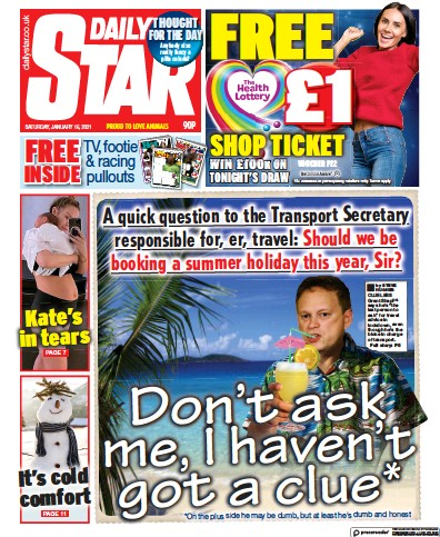 Daily Star Newspaper Front Page (UK) for 16 January 2021