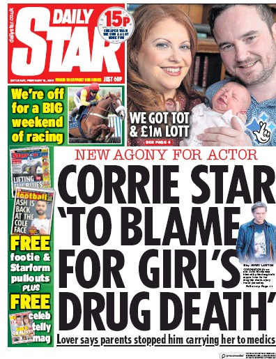 Daily Star Newspaper Front Page (UK) for 16 February 2019