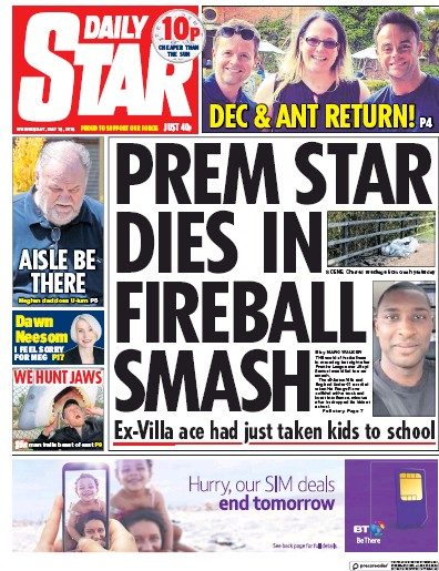Daily Star Newspaper Front Page (UK) for 16 May 2018