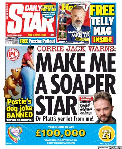 Daily Star Newspaper Front Page (UK) for 16 May 2020