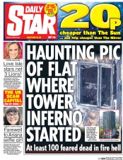 Daily Star (UK) Newspaper Front Page for 16 June 2017