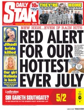 Daily Star (UK) Newspaper Front Page for 16 July 2018