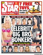Daily Star Newspaper Front Page (UK) for 16 August 2012