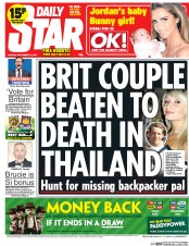 Daily Star (UK) Newspaper Front Page for 16 September 2014