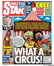 Daily Star front page for 16 September 2020