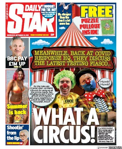Daily Star Newspaper Front Page (UK) for 16 September 2020