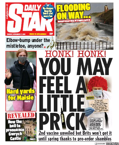 Daily Star Newspaper Front Page (UK) for 17 November 2020