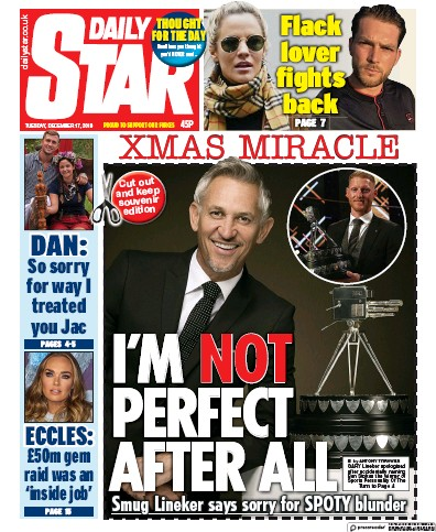 Daily Star Newspaper Front Page (UK) for 17 December 2019