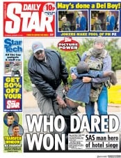 Daily Star (UK) Newspaper Front Page for 17 January 2019