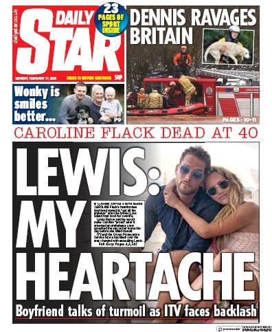 Daily Star Newspaper Front Page (UK) for 17 February 2020