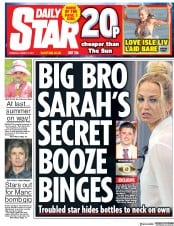 Daily Star (UK) Newspaper Front Page for 17 August 2017