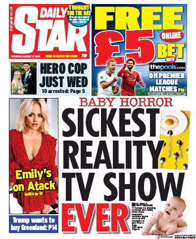 Daily Star Newspaper Front Page (UK) for 17 August 2019