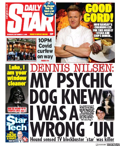 Daily Star Newspaper Front Page (UK) for 17 September 2020