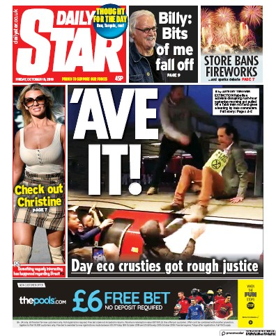Daily Star Newspaper Front Page (UK) for 18 October 2019