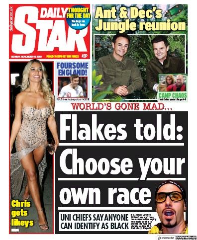 Daily Star Newspaper Front Page (UK) for 18 November 2019