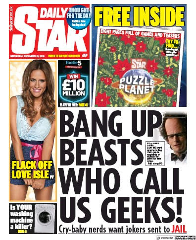 Daily Star Newspaper Front Page (UK) for 18 December 2019