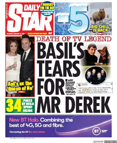Daily Star Newspaper Front Page (UK) for 18 January 2020