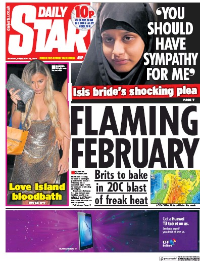 Daily Star Newspaper Front Page (UK) for 18 February 2019