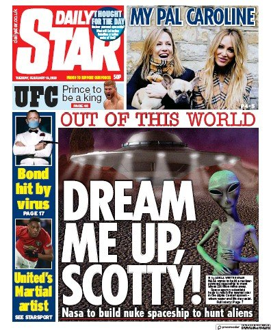 Daily Star Newspaper Front Page (UK) for 18 February 2020